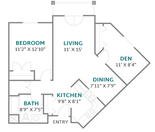 One Bedroom + Den Apartment Floorplan